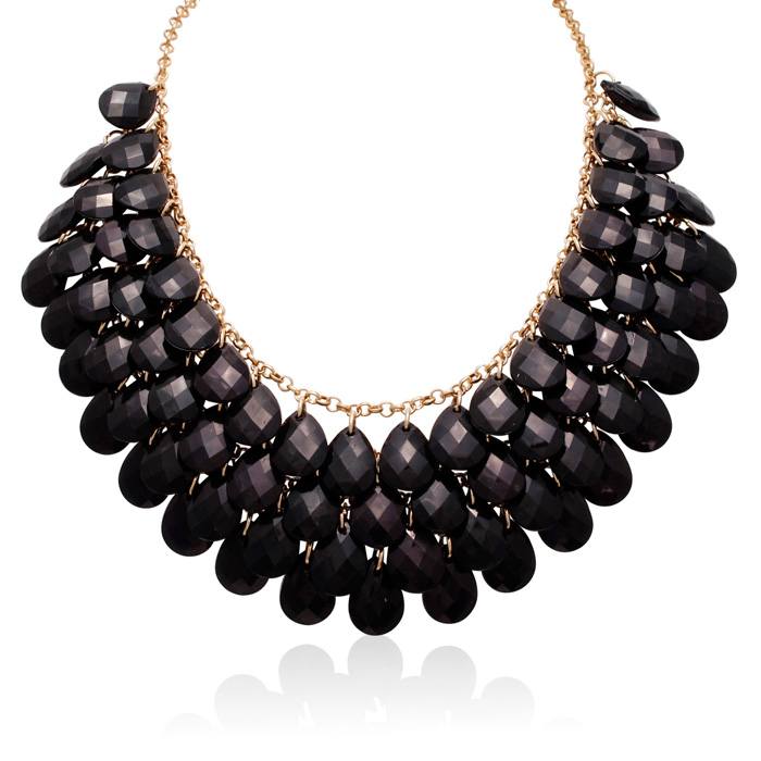 Image of Black Onyx Crystal Statement Necklace In Gold Overlay, 18 Inches