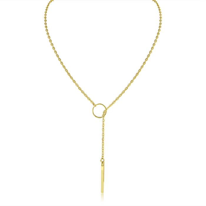 Bar & Circle Lariat Necklace, Yellow Gold by Adoriana