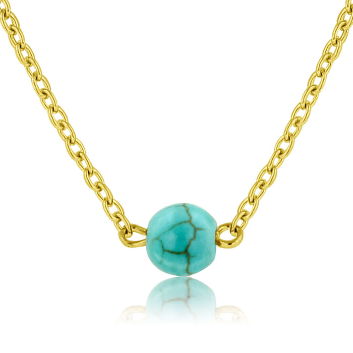 Turquoise Bead Necklace, Yellow Gold by Adoriana
