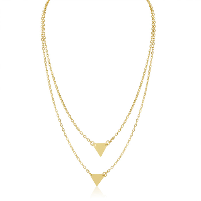 Double Triangle Layer Necklace, Yellow by Adoriana