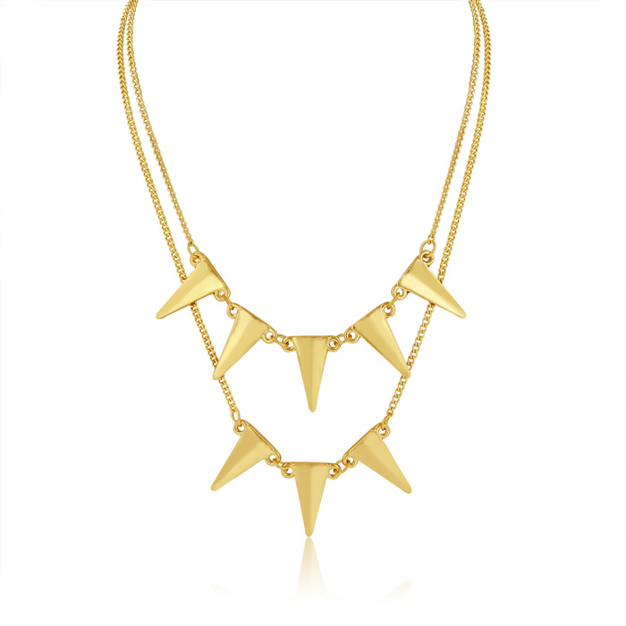 Double Strand Spike Necklace, Yellow Gold by Adoriana