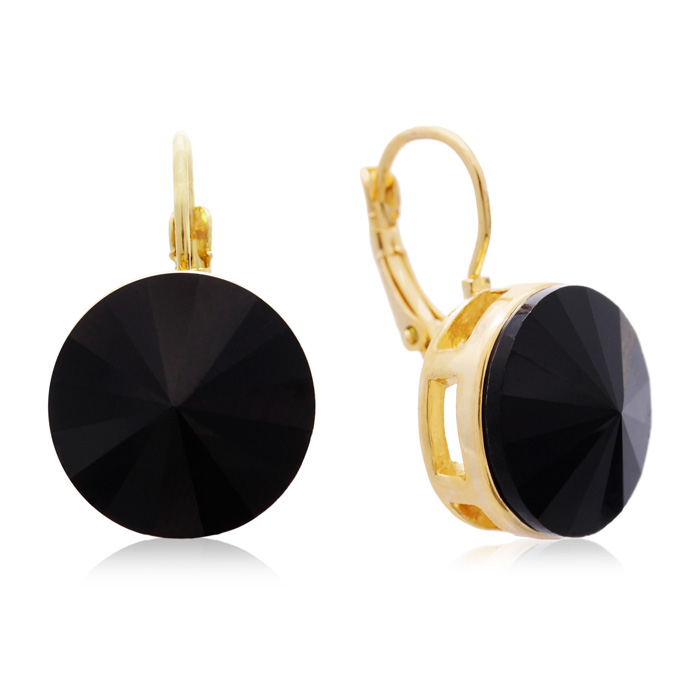 30 Carat Black Onyx Crystal Earrings, Gold Overlay by Adoriana