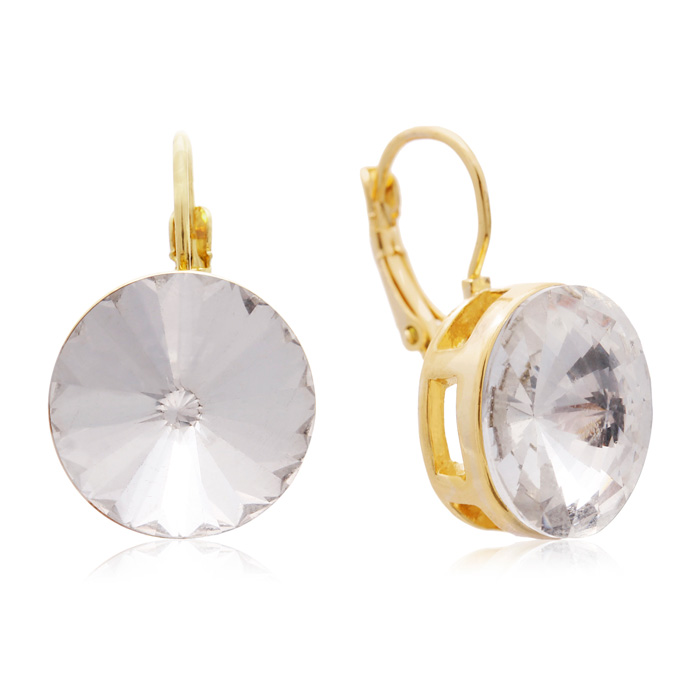 30 Carat Diamond Crystal Earrings, Gold Overlay by Adoriana