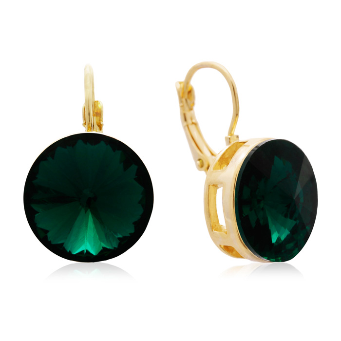 30 Carat Emerald Crystal Earrings, Gold Overlay by Adoriana