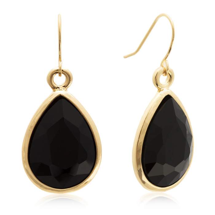 18 Carat Pear Shape Black Onyx Crystal Earrings, Gold Overlay by