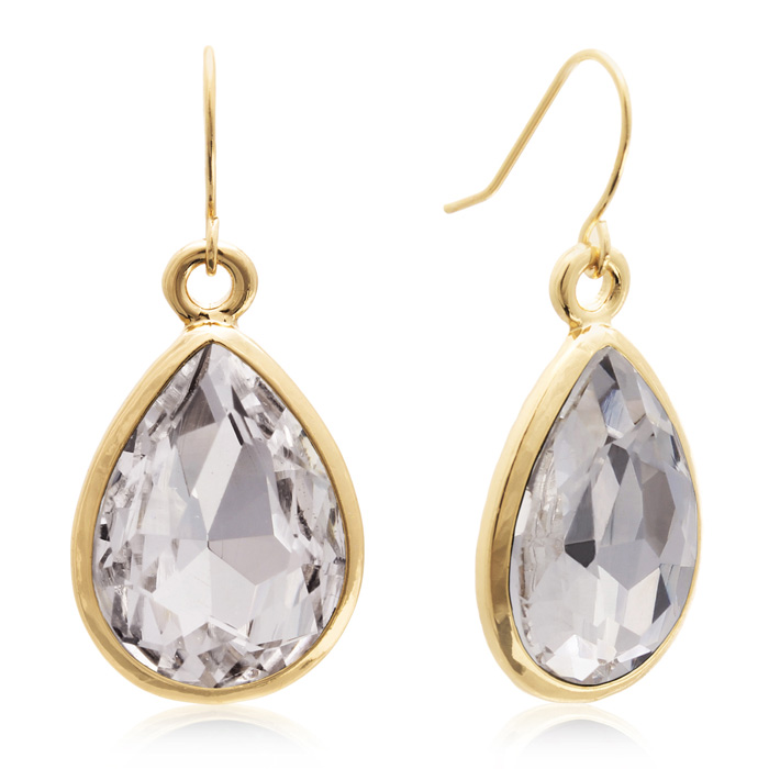 18 Carat Pear Shape Diamond Crystal Earrings, Gold Overlay by Ado