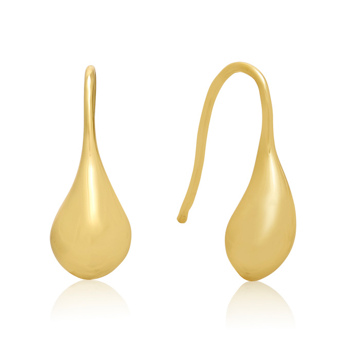24K Gold Hand Overlayed Eco-Brass Teardrop Earrings by Adoriana