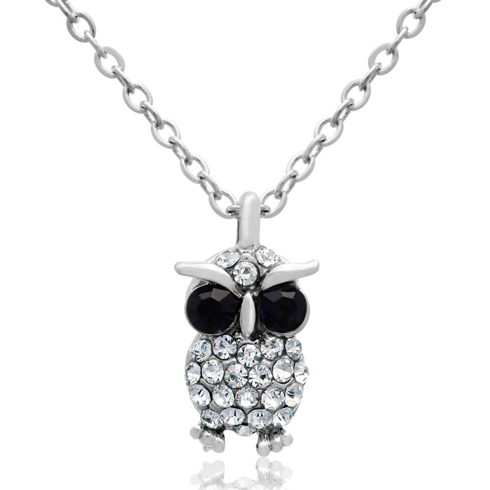Sapphire & White Crystal Dainty Owl Necklace, 16 Inches by Adoria