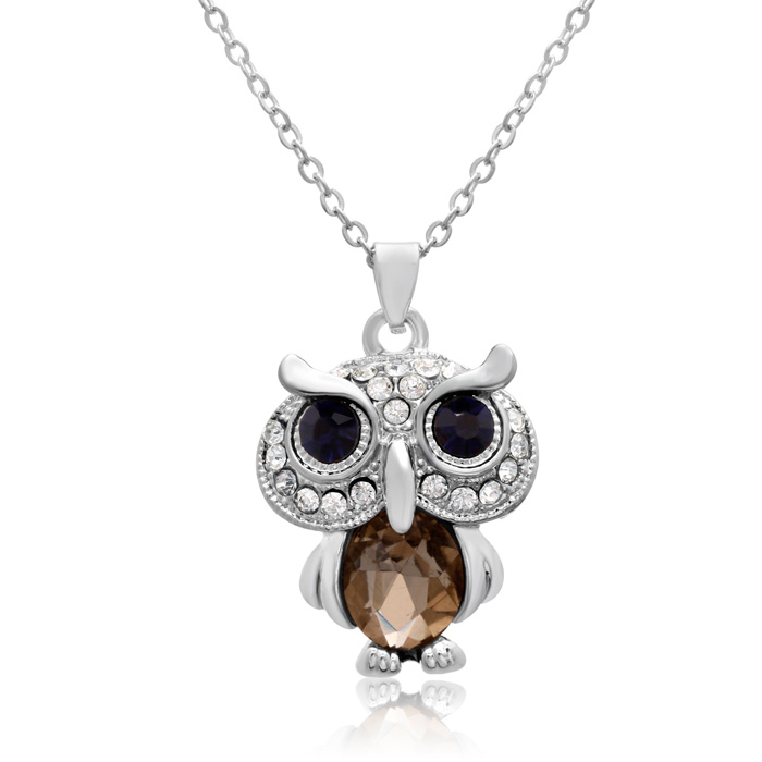Sapphire & White Crystal Owl Necklace, 16 Inches by Adoriana