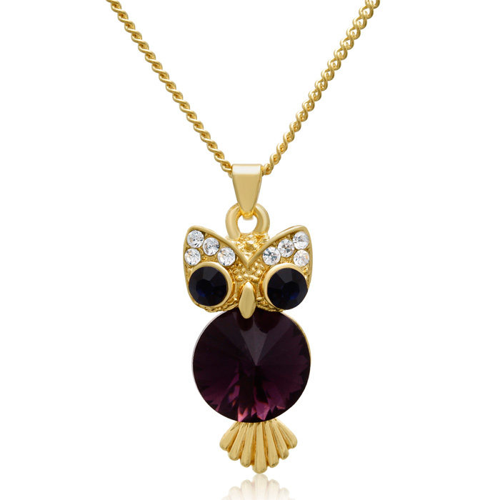 Sapphire & Amethyst Crystal Owl Necklace, 16 Inches, Gold Overlay