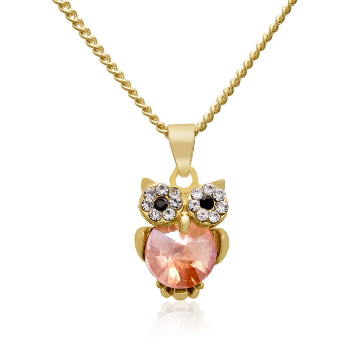 Lemon & White Gold Crystal Dainty Owl Necklace, 16 Inches by Adoriana