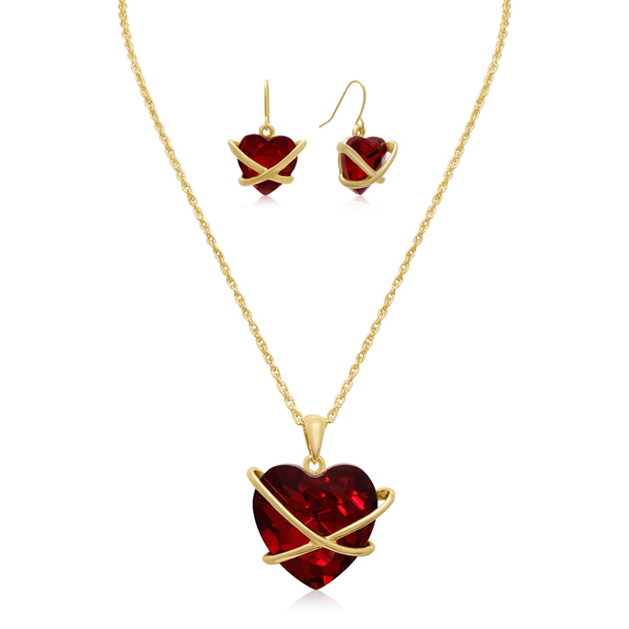 Crystal Ruby Heart Necklace w/ Free Matching Earrings by Adoriana