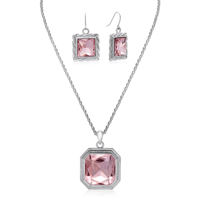 Pink Topaz Necklace w/ Free Matching Earrings by Adoriana