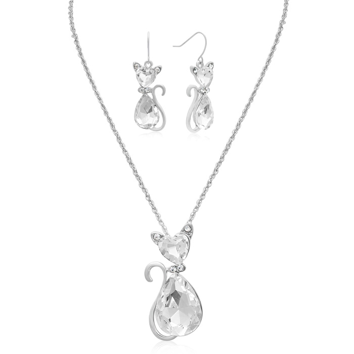 Crystal Cat Necklace w/ Free Matching Earrings by Adoriana