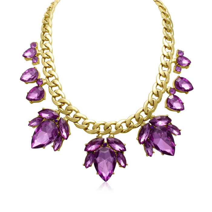 Crystal Purple Amethyst Flower Petal Bib Necklace, Gold Overlay, 17 Inches by Adoriana