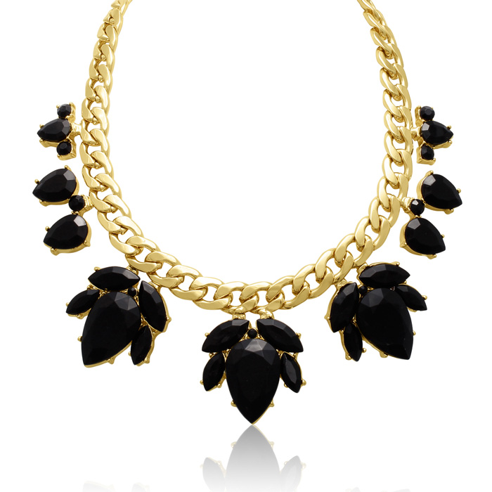 Crystal Black Onyx Flower Petal Bib Necklace, Gold Overlay, 17 In