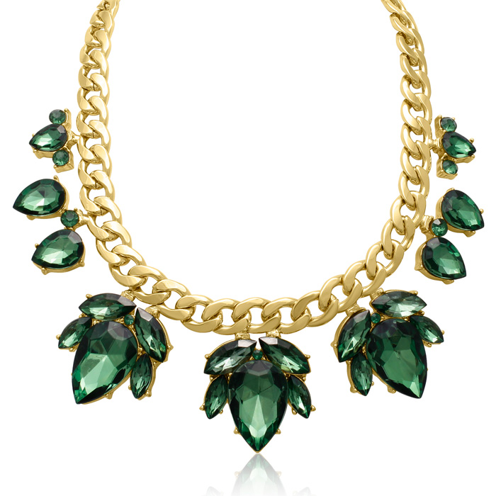 Crystal Emerald Green Flower Petal Bib Necklace, Gold Overlay, 17