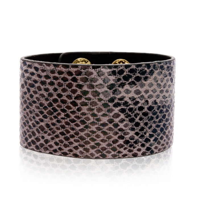 Slate Gray Vegan Snakeskin Leather Cuff Bracelet, 8 Inch by Adori