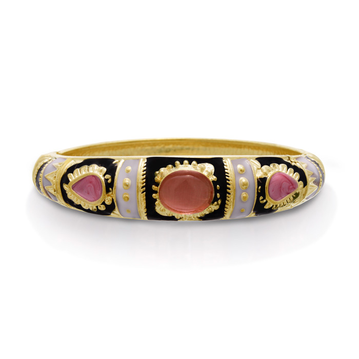 Japanese Inspired Enamel Bracelet in Gold Overlay, 7 Inches by Adoriana
