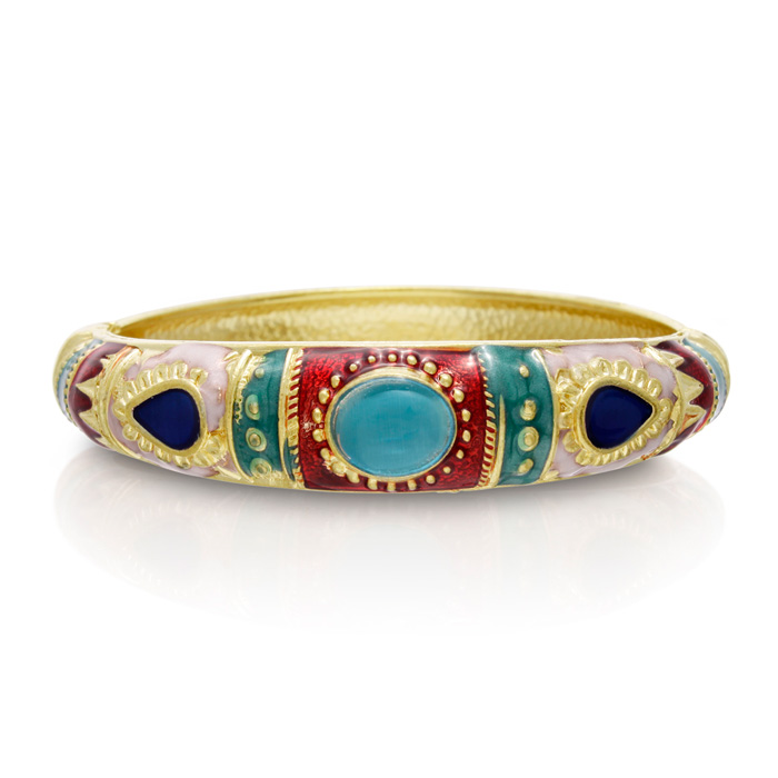 Indian Inspired Enamel Bracelet In Gold Overlay, 7 Inches