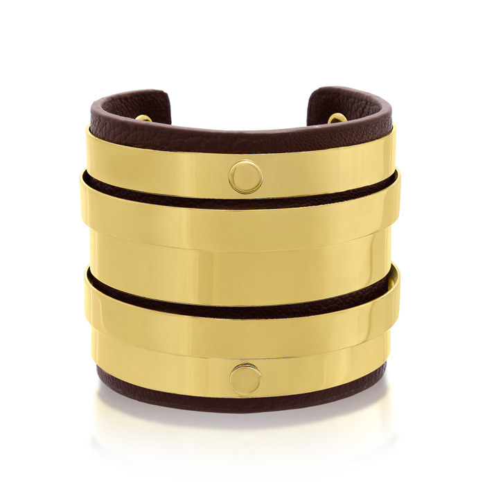 Brown Vegan Leather Round Bangle Cuff, 7 Inch by Passiana