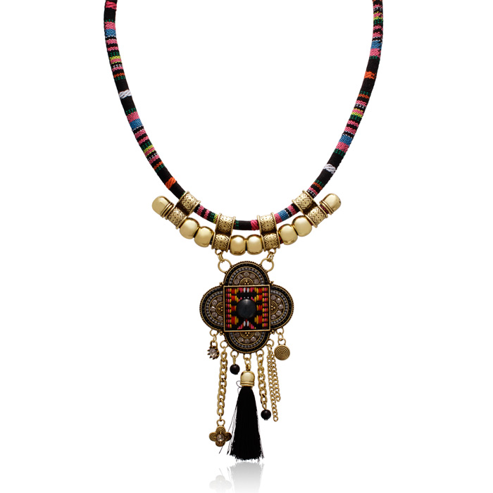 Tribal Tassel Necklace, 16 Inch Chain by Passiana
