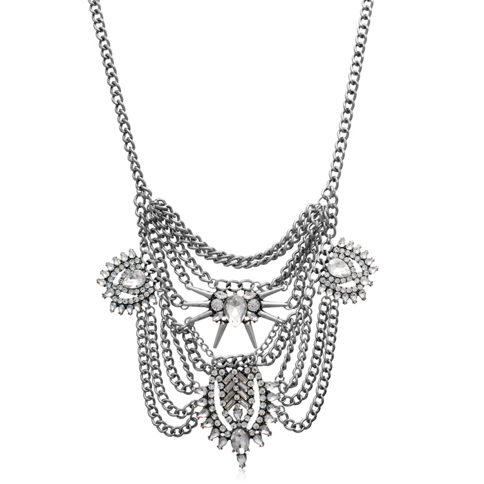 Clear Crystal Chain Bib Necklace, The Countess Collection by Luan