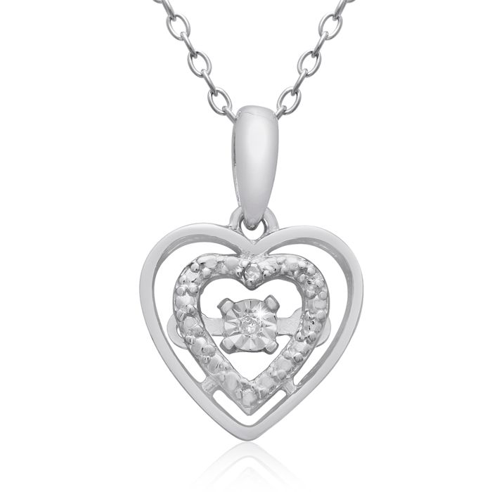 Shimmering Stars Collection Diamond Halo Heart Necklace in Sterli