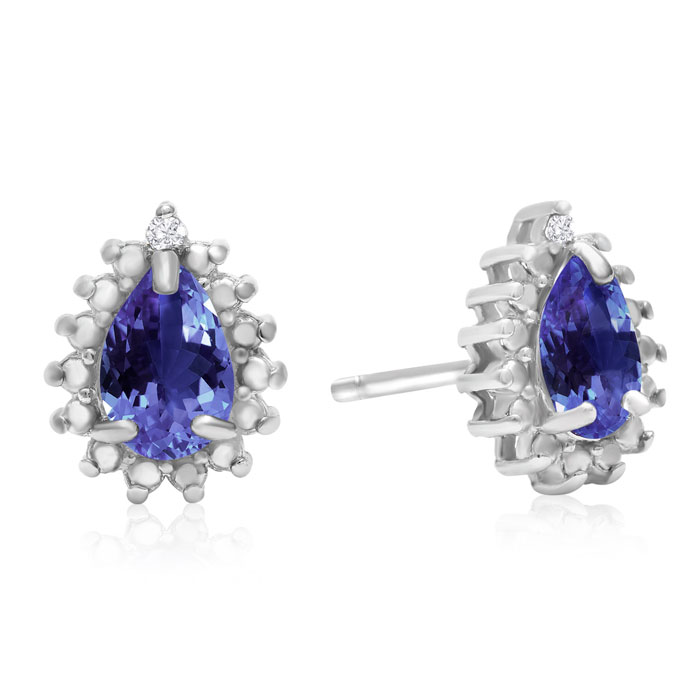 2/3 Carat Pear Shape Tanzanite & Halo Diamond Earrings in Sterlin