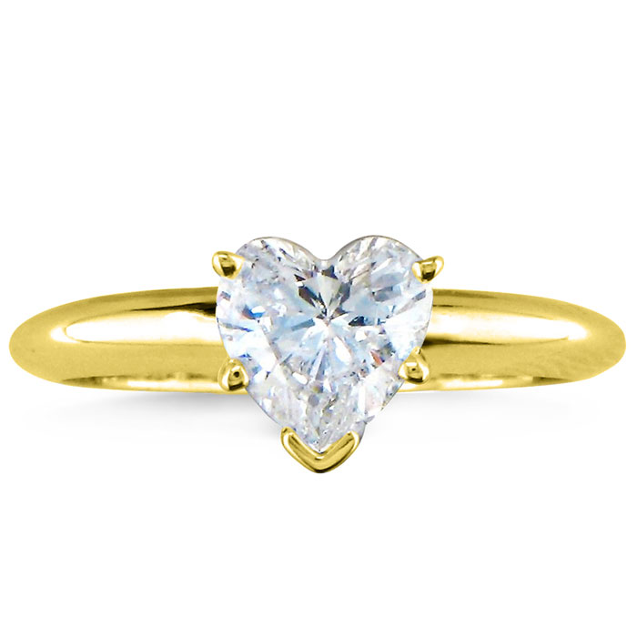 3/4 Carat Heart Shape Diamond Solitaire Ring in 14k Yellow Gold (