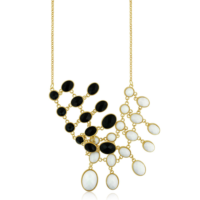 Black & White Reversible Bib Necklace, Gold Overlay, 18 Inches by