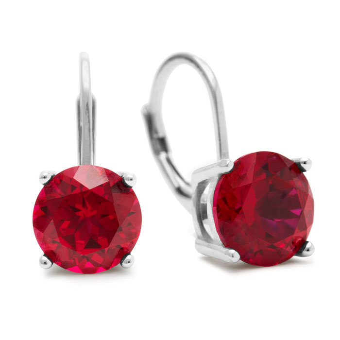 5 1/2 Carat Created Ruby Drop Earrings