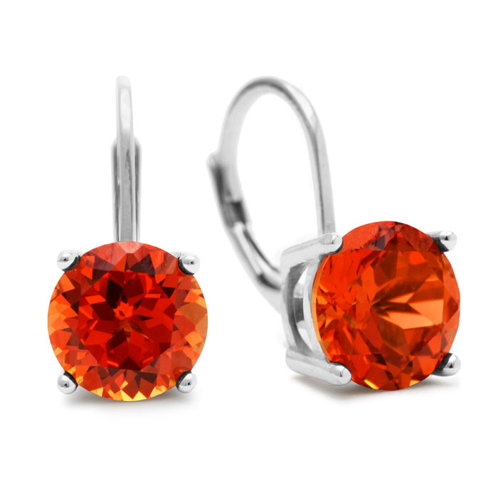 5 1/2 Carat Created Padparadscha Sapphire Leverback Earrings in S