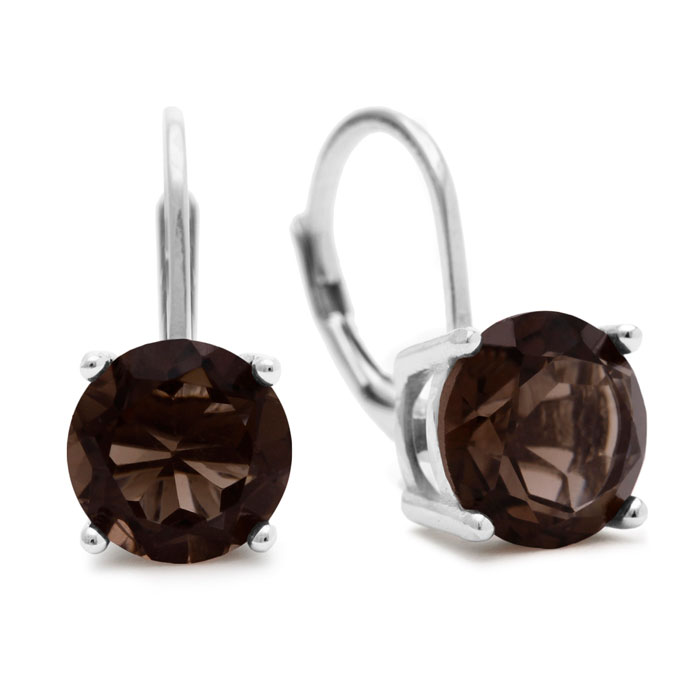 5 Carat Smoky Quartz Leverback Earrings in Sterling Silver by Sup