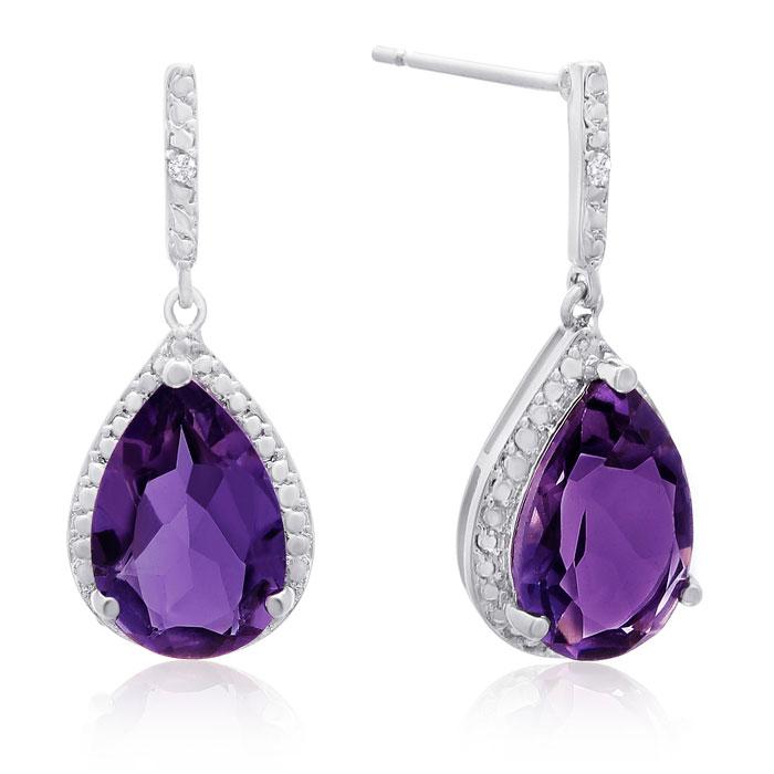 7 Carat Pear Shape Amethyst & Diamond Drop Earrings, Platinum Overlay, 1 Inch,  by SuperJeweler