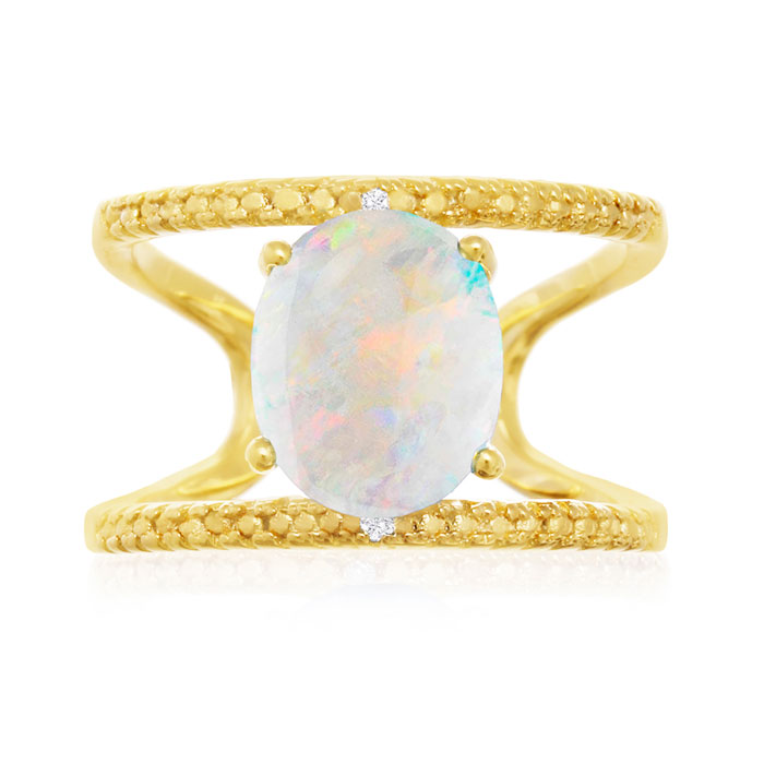 3 Carat Opal & Diamond Open Shank Ring in 14K Yellow Gold Over Sterling Silv..