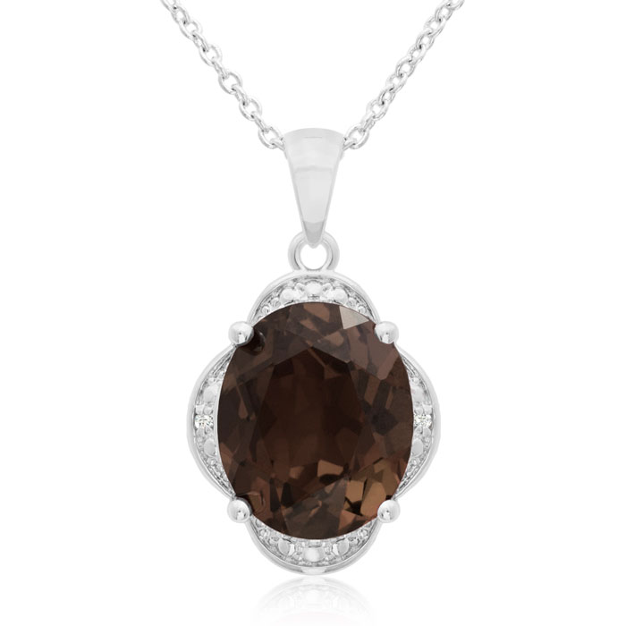4 Carat Smoky Quartz & Diamond Necklace, 18 Inches, J/K by SuperJeweler