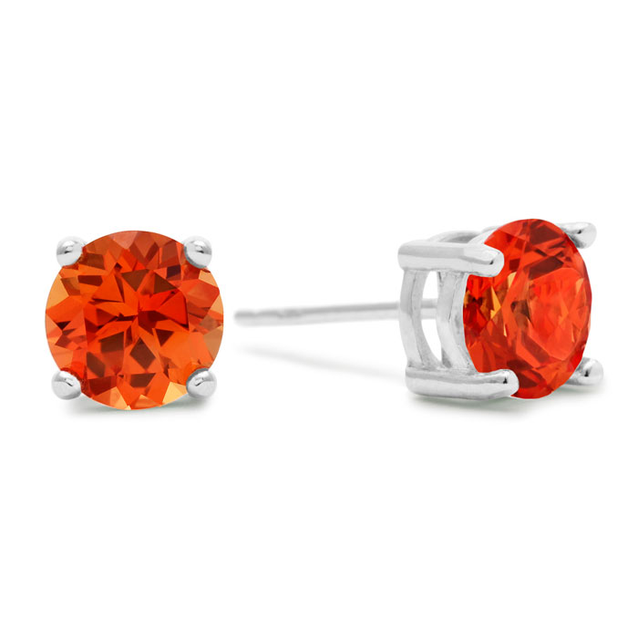 2 Carat Round Created Padparadscha Sapphire Earrings in Sterling