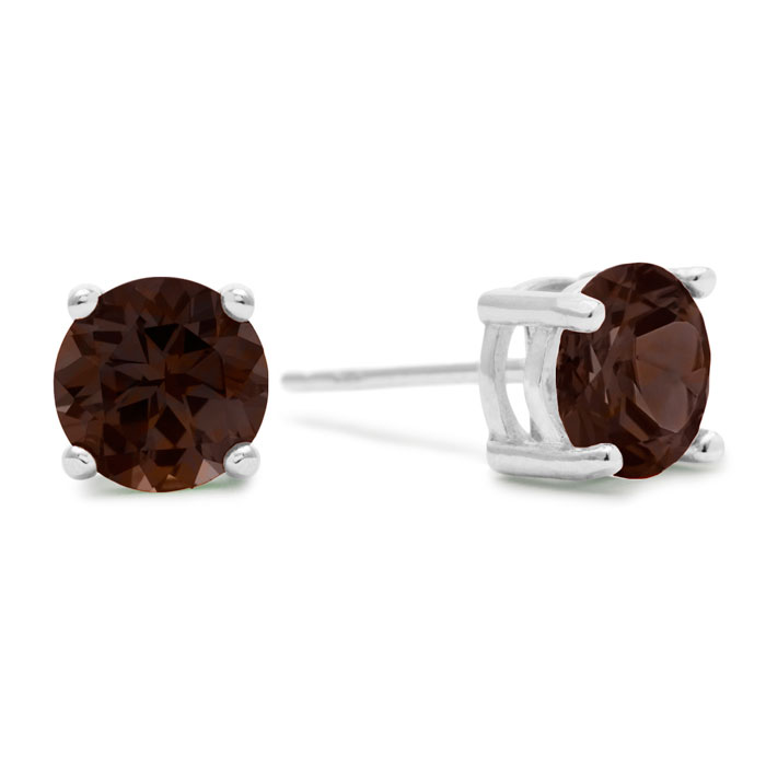 2 Carat Round Smoky Quartz Earrings in Sterling Silver by SuperJe