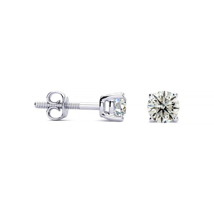 1/2 Carat Diamond Stud Earrings in 14k White Gold, J/K by SuperJe