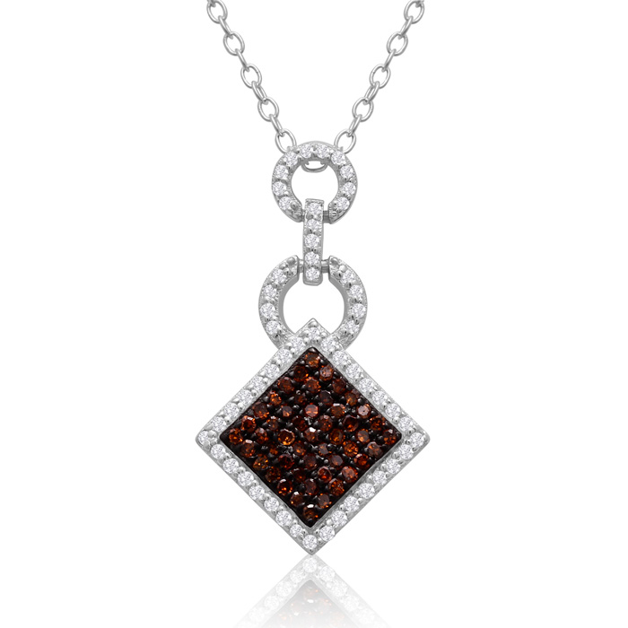 1/4 Carat Chocolate Bar Champagne & White Diamond Pave Necklace in Sterling Silver, 18 Inches, H/I by SuperJeweler