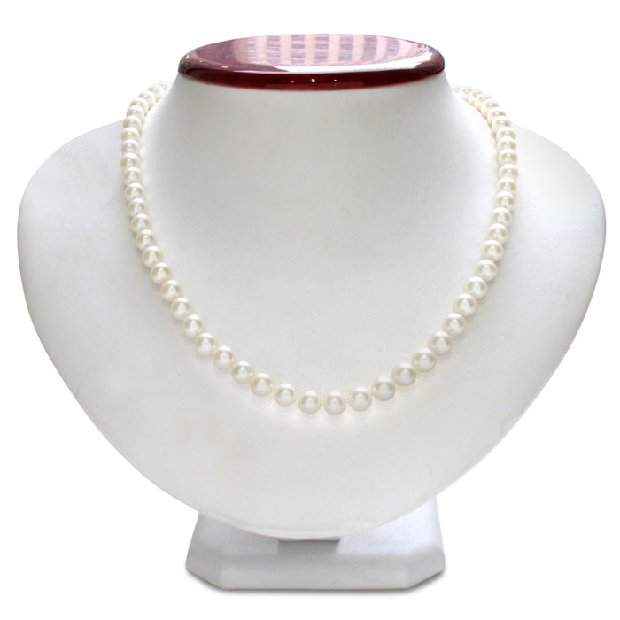 7mm A Hand Knotted Pearl Necklace, Sterling Silver Clasp, 18 Inch
