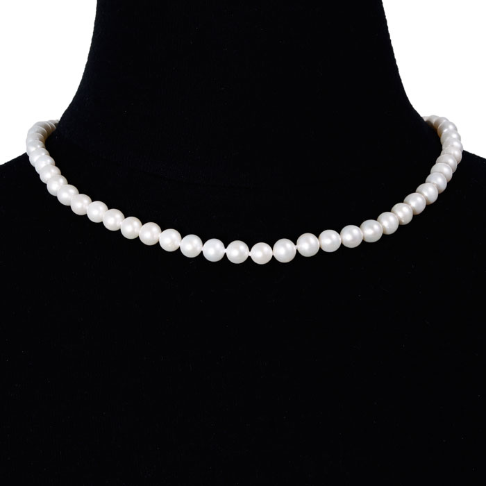 16 Inch 7mm AAA Hand Knotted Pearl Necklace, 14k Yellow Gold Clas