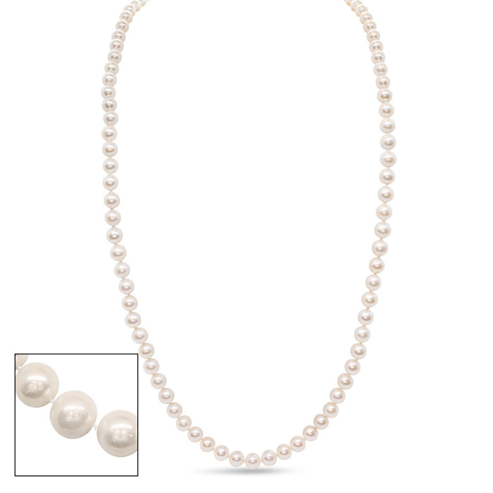 36 Inch 10mm AA Hand knotted Pearl Necklace, 14k Yellow Gold Clas