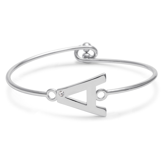 """A"" Initial Bangle Bracelet w/ Cubic Zirconia Accent, 7 Inch by S"