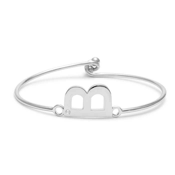 """B"" Initial Bangle Bracelet w/ Cubic Zirconia Accent, 7 Inch by S"