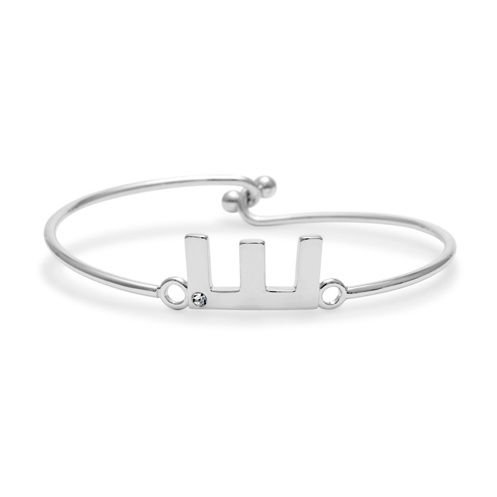 """E"" Initial Bangle Bracelet w/ Cubic Zirconia Accent, 7 Inch by S"