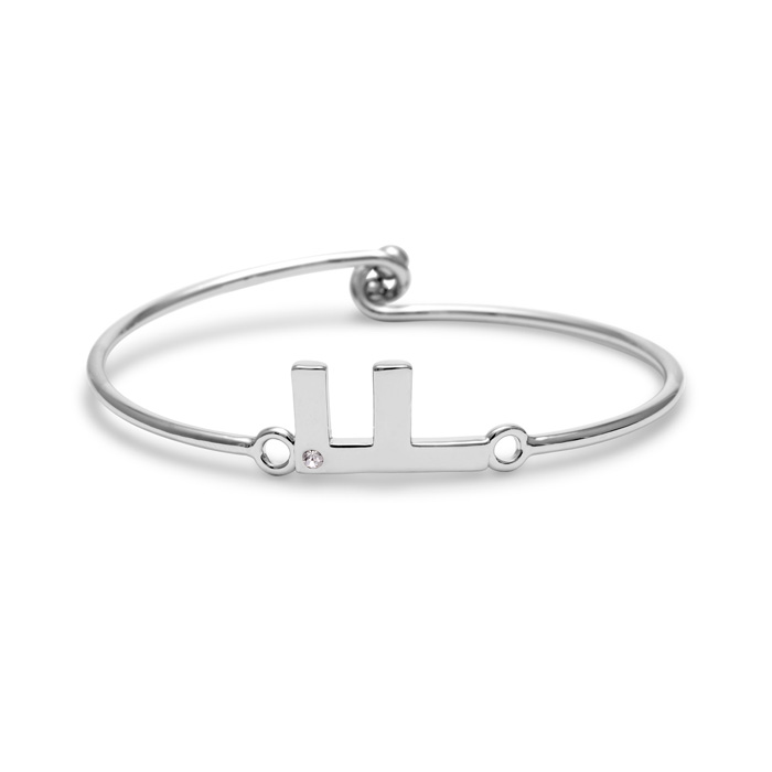 """F"" Initial Bangle Bracelet w/ Cubic Zirconia Accent, 7 Inch by S"