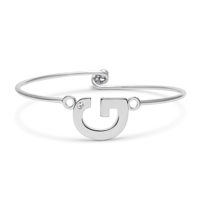 """G"" Initial Bangle Bracelet w/ Cubic Zirconia Accent, 7 Inch by S"