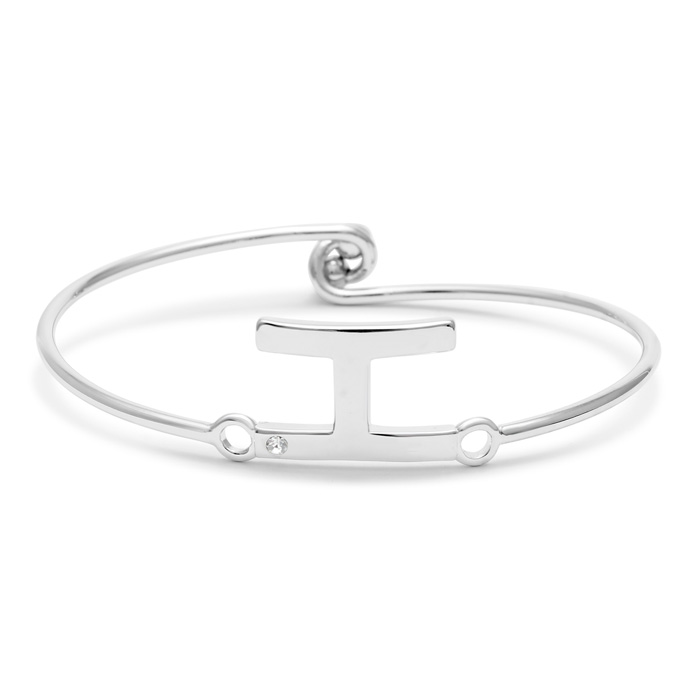 """H"" Initial Bangle Bracelet w/ Cubic Zirconia Accent, 7 Inch by S"